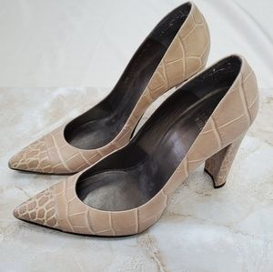 Stuart Weitzman Leather Tan Crocodile Heels
